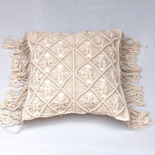 Load image into Gallery viewer, Square macramé cushion handwoven in an intricate diamond pattern using 100% eco-friendly natural cotton, back with a plain cotton with zipper closure and finished with long side fringing