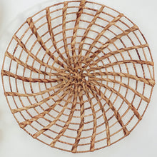 Load image into Gallery viewer, Round basket wall art woven with authentic water hyacinth reeds.