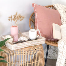 Load image into Gallery viewer, Dusty Pink Fringed Cushion