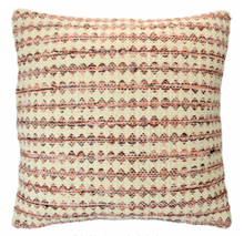 Load image into Gallery viewer, Square cushion with small pink and black diamond argyle stripe pattern on natural background