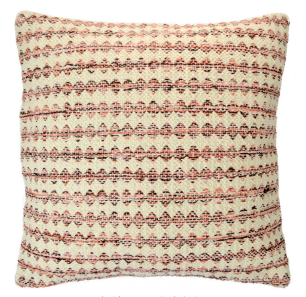 Square cushion with small pink and black diamond argyle stripe pattern on natural background