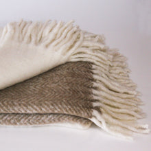 Load image into Gallery viewer, Classic mohair-feel throw rug is made with a soft and luxurious mix of brushed wool and acrylic in two-tone camel and white. Finished with a chunky white rolled fringe at opposite ends.