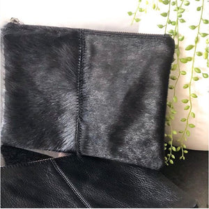 Ebony Cowhide and Leather Clutch