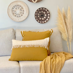 Mustard & Natural Fringe Lumbar Cushion