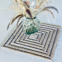 Load image into Gallery viewer, Square open weave natural rattan table centrepiece/placemat with whitewashed finish.