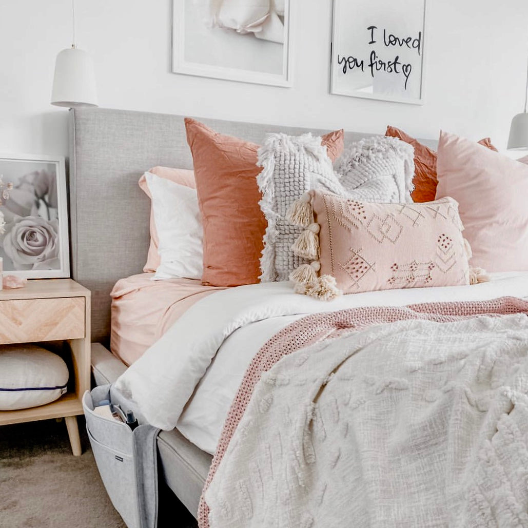 Blush Pink Embroidered Cushion