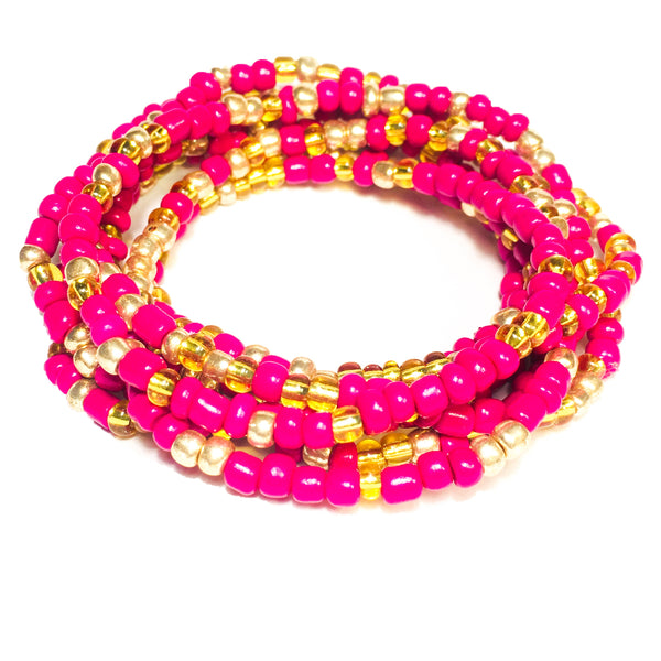 Hot Pink and Transparent Gold