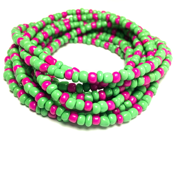 Hot Pink and Green Seed Bead Waist Jewelry