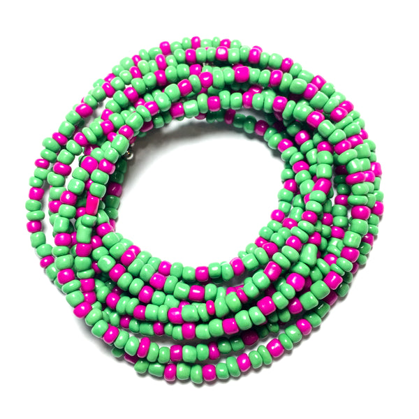 Green and Hot Pink Waist Beads