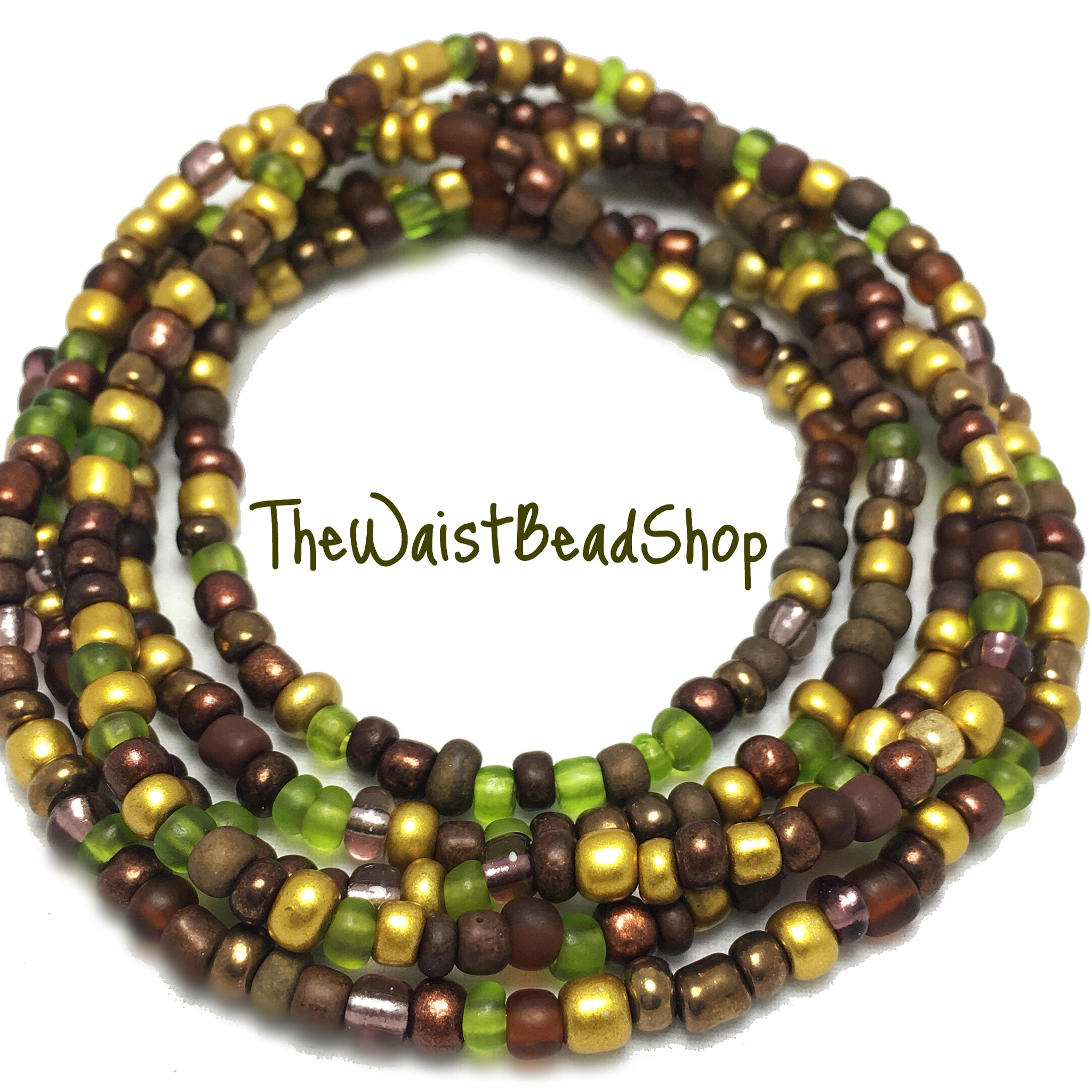 Mixed Gold Brown and Green Waist Beads