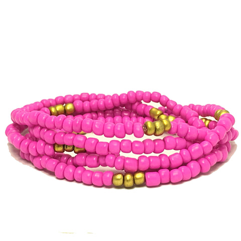 Gold and Hot Pink Waist Beads