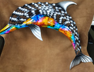 Colorful dolphin wall art