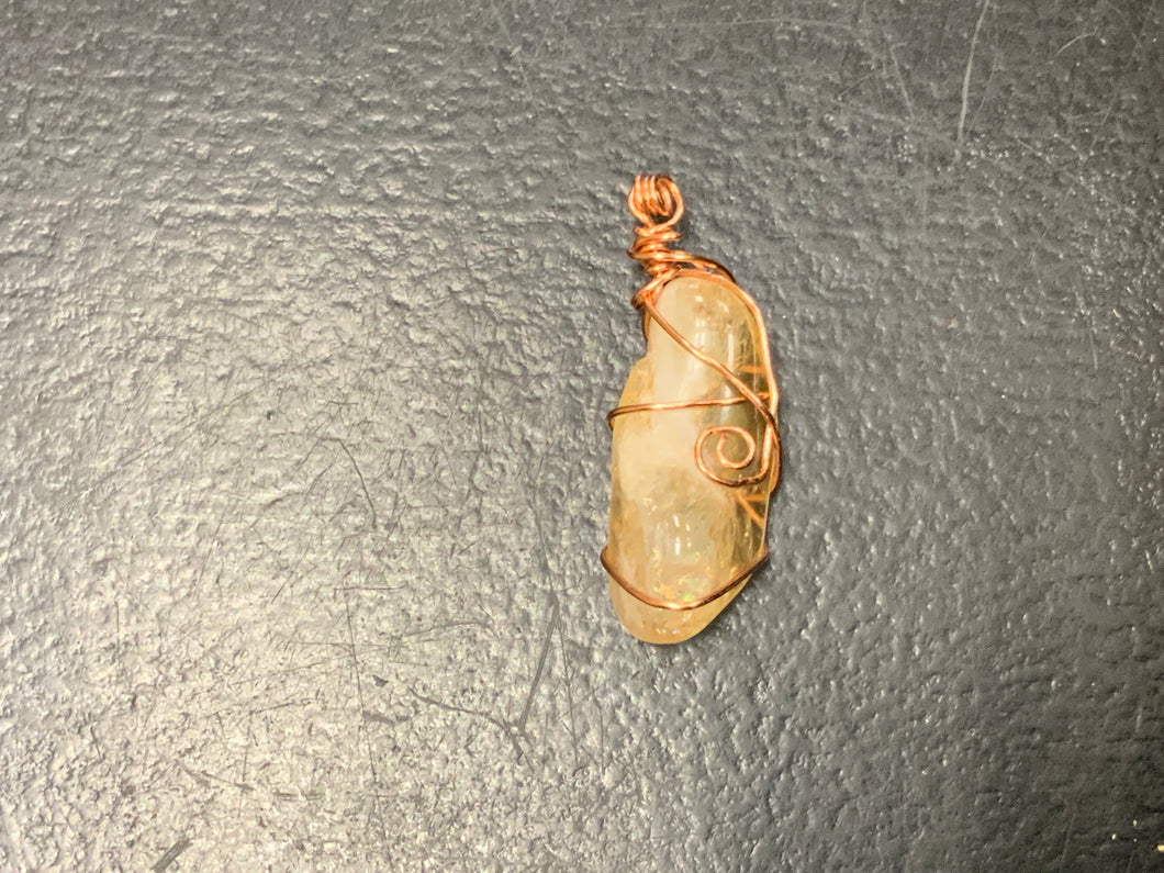 Wire wrapped citrine