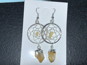 Citrine web earrings
