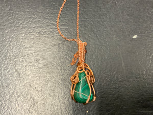 Wire wrapped malachite nk