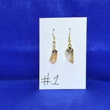 Load image into Gallery viewer, Pointed Citrine Quartz Crystal earrings