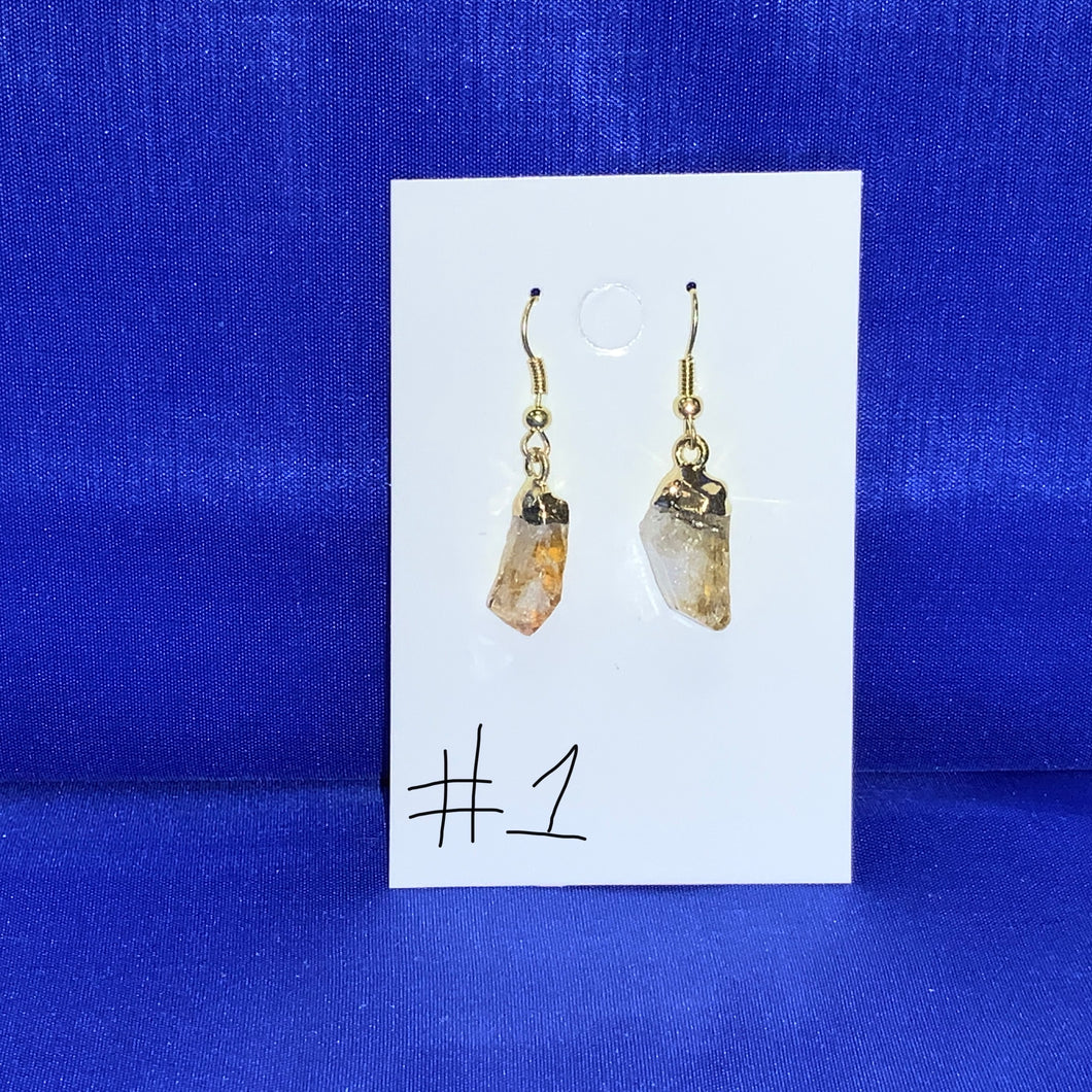 Pointed Citrine Quartz Crystal earrings
