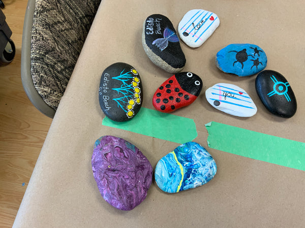 medium painted rock
