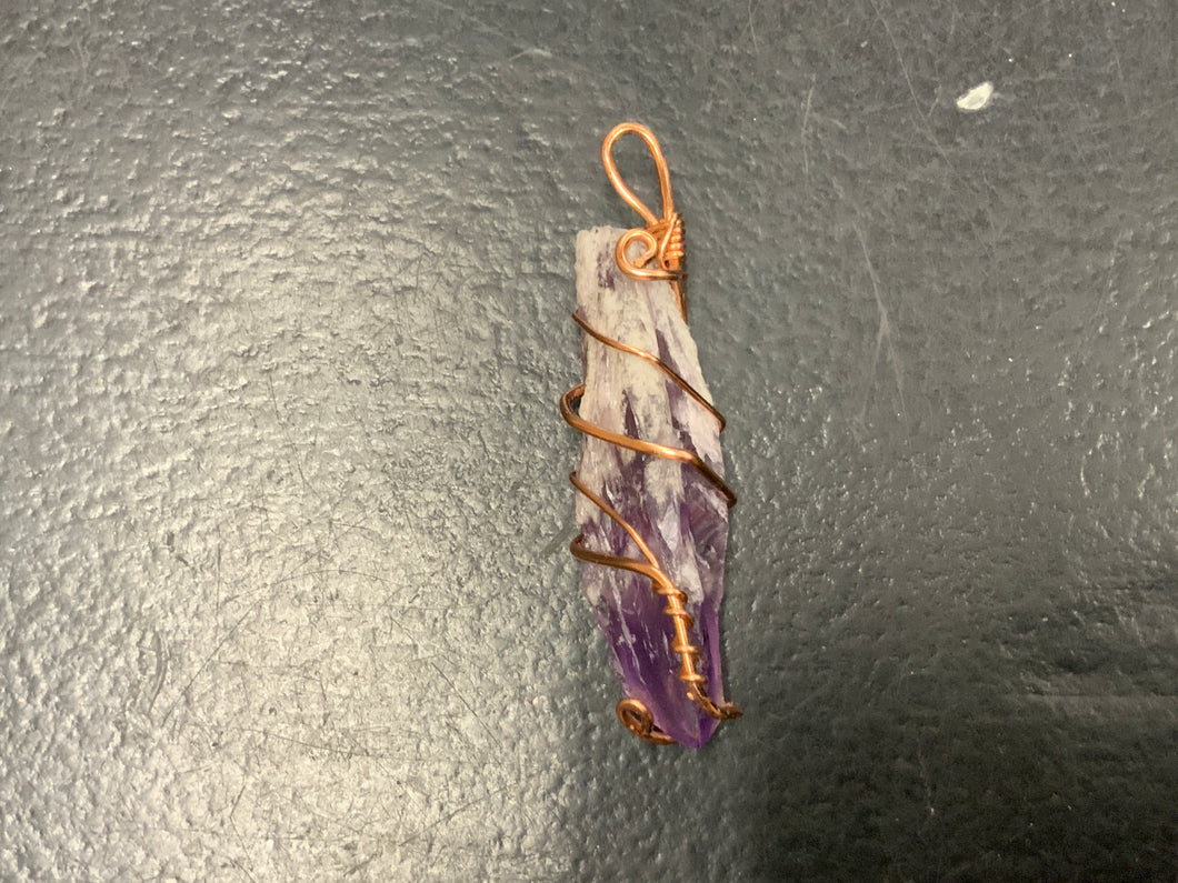 Wire wrapped amethyst point
