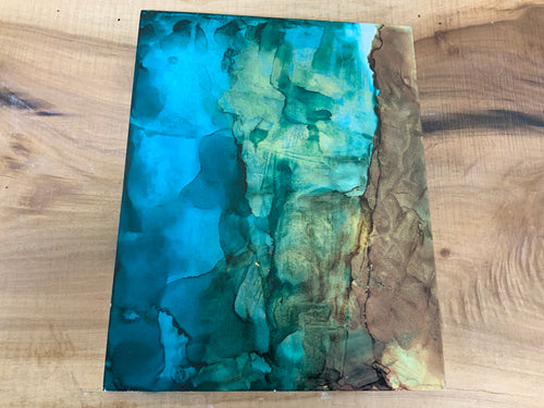 Turquoise and green alcohol ink