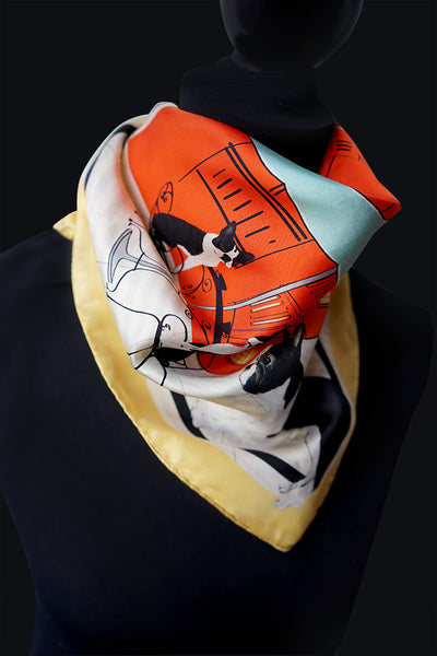 Boston Terriers are amazing, high spirited dogs. We created a design with that in mind . Men can wear our bandanas as a pocket square or neckerchief and certainly women can were them as a bracelet, a tassel for their pocketbook, headscarf, or however!