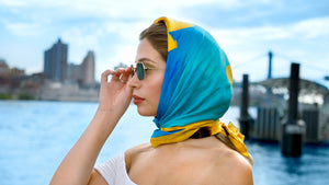 Channel your inner Audrey Hepburn, Grace kelly or Sophia Loren. Women's fashion wear. Head warp, head scarf, chic, women, women over 4o, women over 50, women over 60