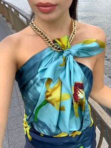 Yellow orchids, Italian made silk scarf. Perfect gift for her. Can be worn as a silk top, Italian head wrap, head scarf, or necktie. Great accessory for the power , business suite. Lightweight, silk twill
