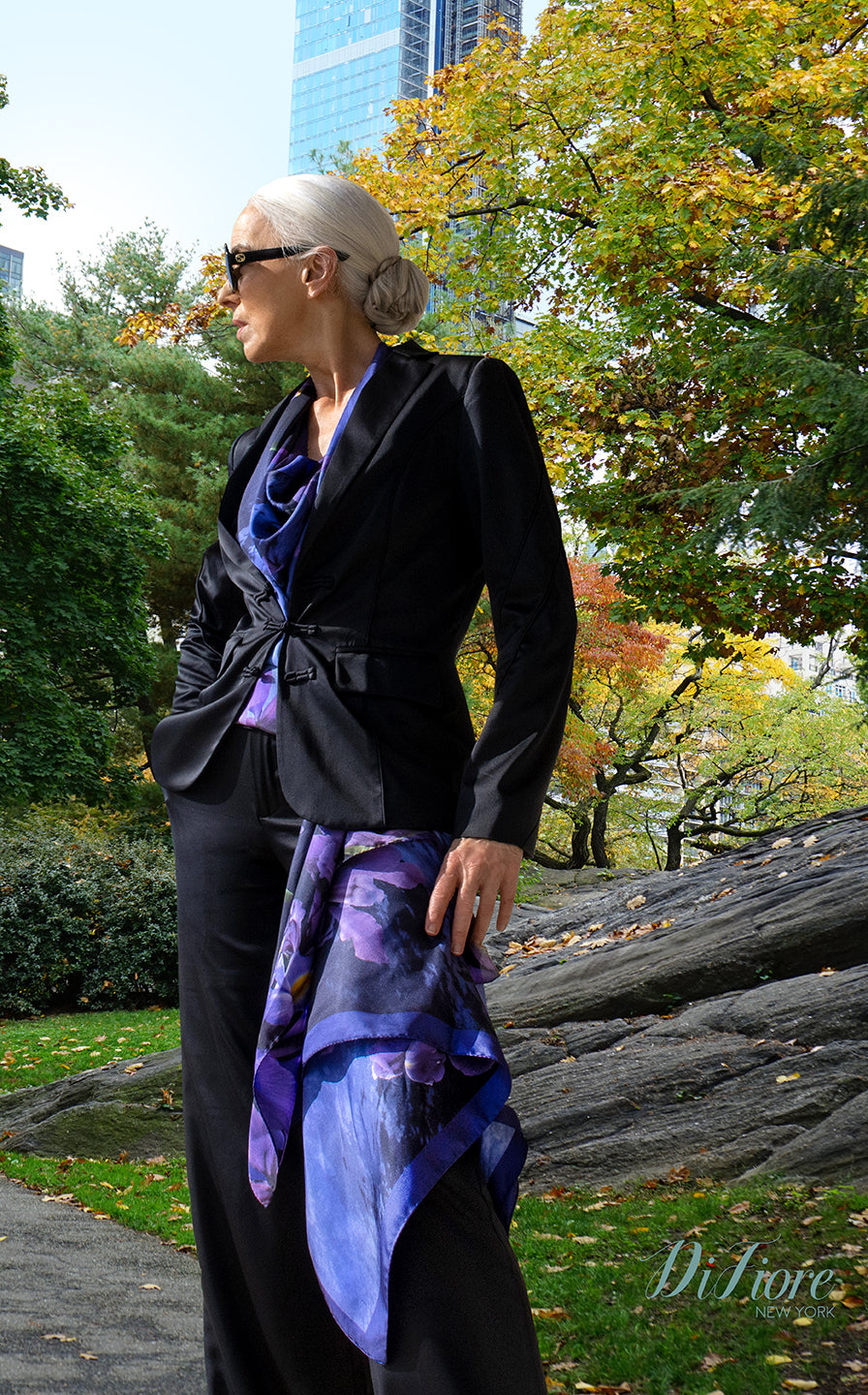 silver hair model, central park, luxury gifts, italian, european, french, fashion model. Womens tops and silk tops, blouses