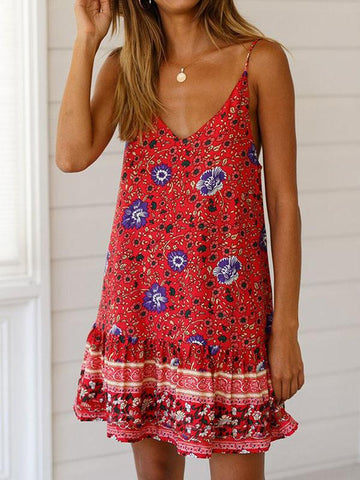 Floral Falbala Hem Condole Belt Mini Dress