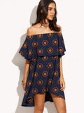 Elegant Flat Shoulder Hi-low Mini Bohemia Dress