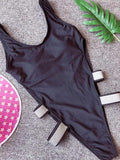 Bandage Plain One-piece Swimwear