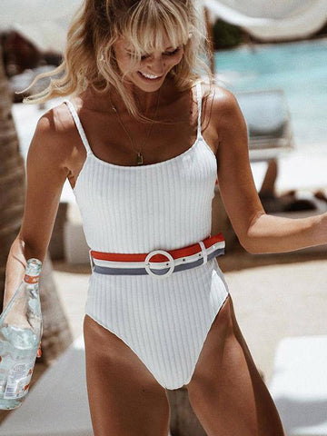 Plain Striped Belt One-piece Swimwear