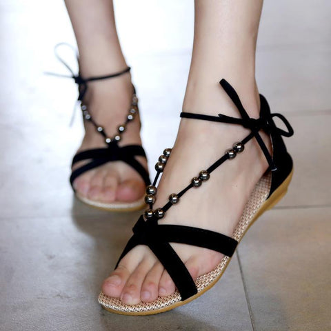 Bohemian Beads Decorate Open Toe Flat Sandals