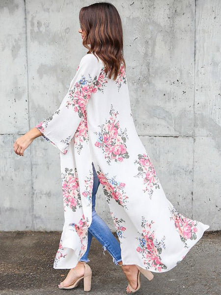 Long Sleeves Chiffon Fashion Floral Printed Cover-up Outwear