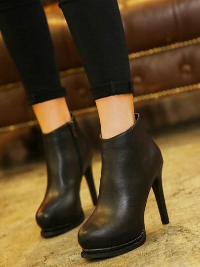 Black Round Toe Stiletto Fashion Ankle Boots
