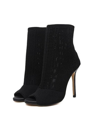 Black Round Toe Stiletto Piscine Mouth Fashion Boots