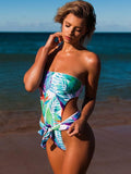Backless Strapless One-piece Swimwear