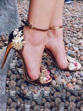 Floral Decorated Ankle Strap Heels Shoes