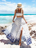 Printed Belt Split-side Skirt&Tube Top Suits