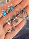 8pcs Vintage Silver Earrings Accessories