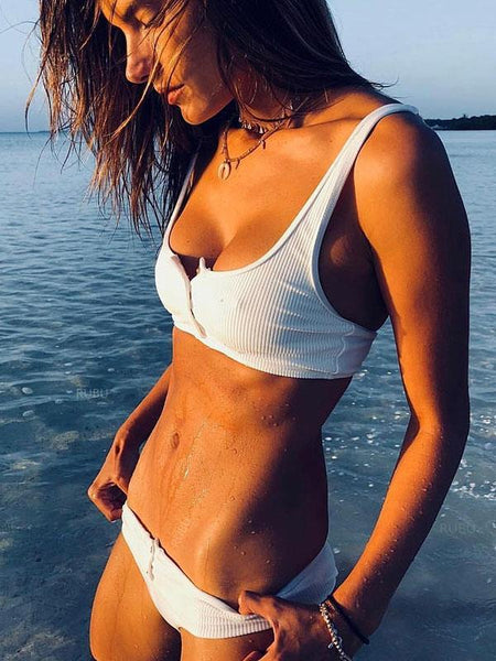 Button Solid Beach Bikinis Swimwear