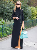 Black Knitted Split-side Elastane Maxi Dresses