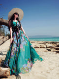 Popular Floral-Print Round Neck SleevelessChiffon Beach Vacation Maxi Dress