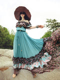Popular Floral-Print Slim Fit Chiffon Stripes Off-Shoulder Bohemia Beach Dress