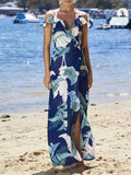 Leaves Printed Split-side Spaghetti-neck Maxi Dress