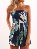 Plant Printed Strapless Sleeveless Jumpsuit Bottoms