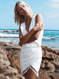 White Tasseled V-neck Sleeveless Mini Dresses