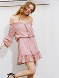 Solid Color Off-the-shoulder Falbala Mini Dress