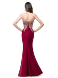 Elegant Sleeveless Round Neck Mermaid Evening Dress