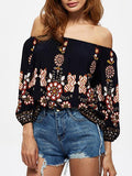 Printed Off-the-shoulder Blouses&Shirts Tops